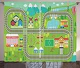 ABAKUHAUS Actividad de vivero Cortinas, Vías del Tren, Sala de Estar Dormitorio Cortinas Ventana Set de Dos Paños, 280 x 260 cm, Multicolor