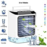 Personal Air Cooler, Portable Mini USB Air Conditioner, 3 in 1 Small Personal Space Air Purifier Cooler and Humidifier, Air Cooler Desk Fan Cooling with Portable Handle for Home Office Dorm Outdoors
