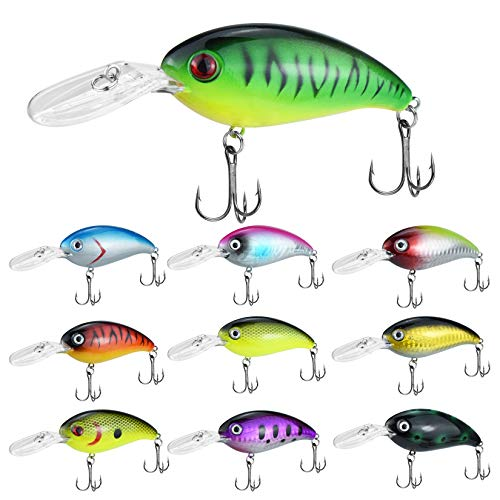 tiggell 10pcs Fishing Lures Diving Wobblers Artificial Bait Crankbait Fishing Swimbait for Bass Trout Freshwater Saltwater Fishing