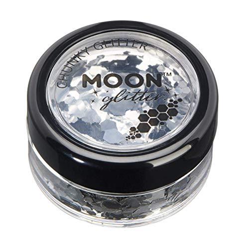 Brillant épais classique par Moon Glitter – 100% de paillettes cosmétique pour le visage, le corps, les ongles, les cheveux et les lèvres - 3g - Argent
