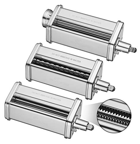 3-Piece Pasta Roller & Cutter Set Attachment for KitchenAid Stand Mixers,Stainless Steel Pasta Maker Accessory by Gvode