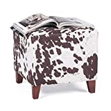 Edeco Modern Square Ottoman Foot Rest Stool/Seat Pouf Ottoman with Linen Fabric and Non-Skid Wooden Legs, Brown Cow