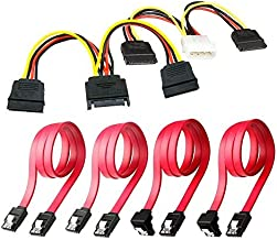 SSD / SATA III Hard Drive Connection Cables (1x 4 Pin to Dual 15 Pin SATA Power Splitter Cable, 1x 15 Pin to Dual 15 Pin SATA Power Splitter Cable, 4x SATA Data Cables), 6 Pack