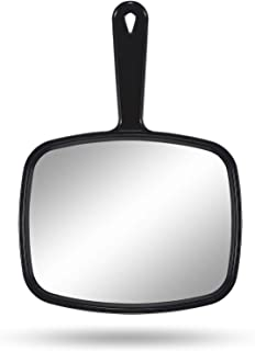 """Hand Mirror, Handheld Makeup Mirror with Handle for Barber Hairdressing (Square Black 10.3""""x7.4"""")"""