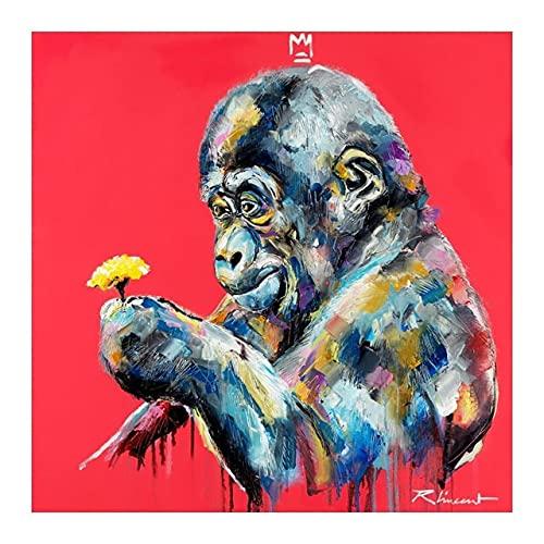 PEEKEON Kleurrijke graffiti leeuwen aap kunst canvas schilderij op de muur Posters Dieren afdrukken Pictures Fotos for Kids Room Nursery Home Decor 20x20 inch Geen frame