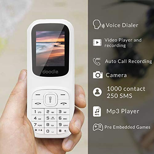 iAir Basic Feature Dual Sim Mobile Phone with 1000mAh Battery, 1.77 inch Display Screen, 0.8 mp Camera (IAIRFPD5, White)
