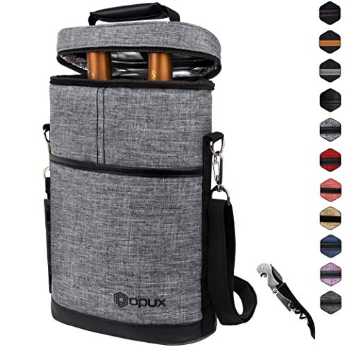 OPUX 2 Bottle Wine Tote Carrier | Insulated Wine Cooler Bag for Travel Picnic BYOB | Portable Wine Carrying Bag, Padded Protection, Shoulder Strap, Corkscrew Opener - Heather Grey