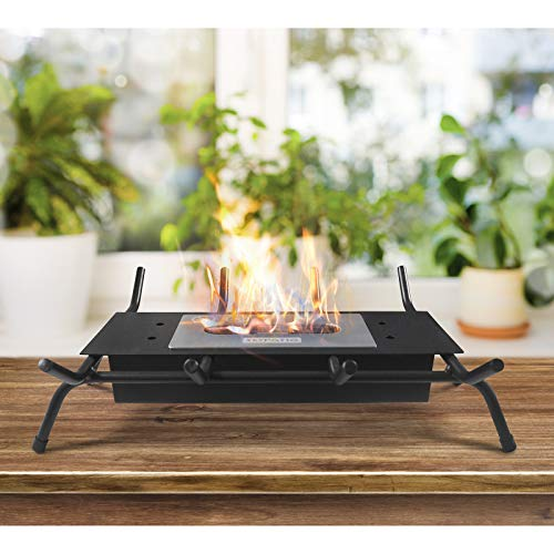 Tabletop Fireplace and Fire Grates, Black Wrought Iron Fireplace Log Grates, Ventless Indoor Outdoor Fire Pit Tabletop Portable Fire Bowl Pot Bio Ethanol Fireplace in Black