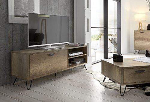 Dugarhome - Muebles de TV Estilo Industrial - Mueble Kansas Madera/Hierro 2 Puertas (150x40x55)