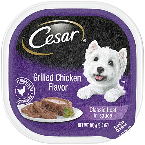 CESAR Soft Wet Dog Food Classic Loaf in Sauce Grilled Chicken Flavor, (24) 3.5 oz. Easy Peel Trays