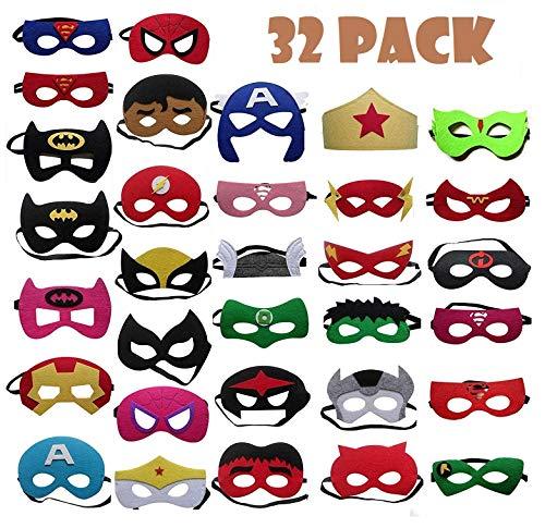 TATAFUN Máscaras de Superhéroe,Suministros de Fiesta de Superhéroes, Máscaras de Cosplay de Superhéroe con Cuerda Elástica Máscaras de Ojos para Niños Mayores de 3 años 32 Piezas
