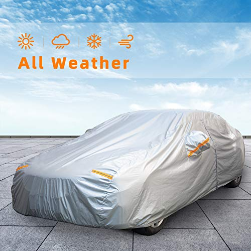 Autsop Car Cover Waterproof All Weather for Automobiles, Outdoor Sun Uv Rain Dust Wind Protection, Full Covers with Zipper, Universal Fit Sedan (Length 181-190 Inch)