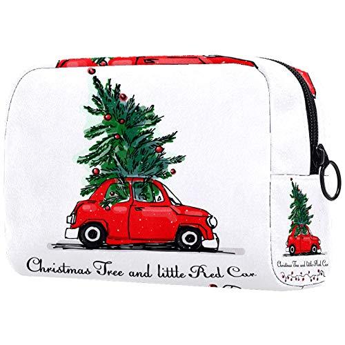 Bolsa de cosméticos para Mujeres Árbol de Navidad de Coche Rojo Bolsas de Maquillaje espaciosas Neceser de Viaje Organizador de Accesorios