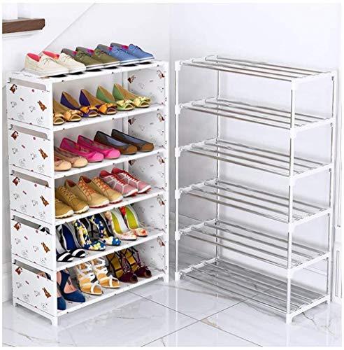 Zapatero Sala de estar Zapatero Ahorro de espacio Gabinete de almacenamiento de zapatos Tela no tejida Puede acomodar 12-18 pares de zapatos desmontables Zapateros-23,6 '' * 11 '' * 33,5 ''_blanco