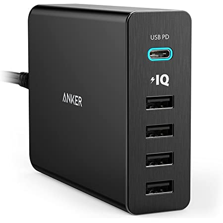 Anker PowerPort+ 5 USB-C Power Delivery (60W 5ポート USB-A & USB-C 急速充電器)【PSE認証済/PowerIQ搭載/PD対応】 MacBook/iPhone/iPad/Android 各種他対応 (ブラック)