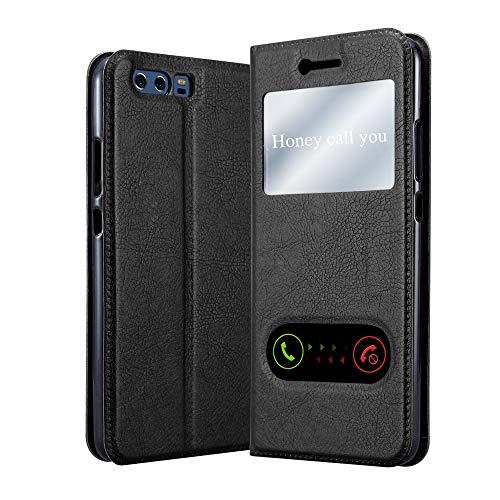 Cadorabo Hülle für Huawei P10 Plus in KOMETEN SCHWARZ – Handyhülle mit Magnetverschluss, Standfunktion & 2 Sichtfenstern – Hülle Cover Schutzhülle Etui Tasche Book Klapp Style