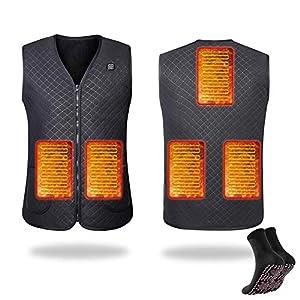 RAIN QUEEN Chaleco calefactor USB eléctrico para invierno, para motocicleta, camping, pesca, esquí, Negro , large