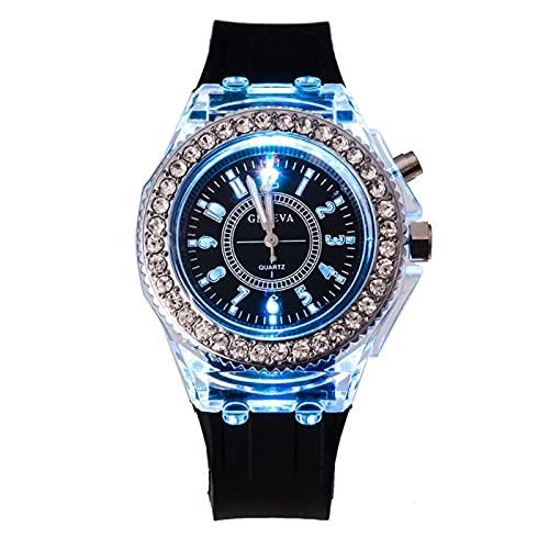 Hero-s Women Geneva Reloj de pulsera de cuarzo de cristal con retroiluminación LED, resistente al agua, relojes para mujer, diseño simple de cuarzo analógico, relojes para mujer, informales, de negoci