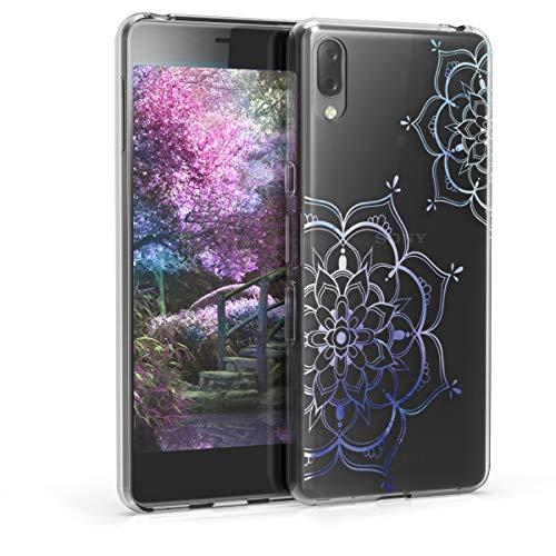 kwmobile Hülle kompatibel mit Sony Xperia L3 - Hülle Silikon transparent Blumen Zwillinge Blau Transparent