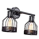 Lámparas de pared Iluminación industrial, lámpara de baño para jaula interior, pantalla de metal con acabado negro, apliques de pared vintage Luces retro para el hogar (bombilla no incluida) (2 luces)