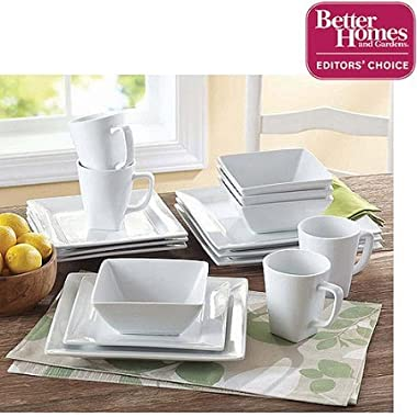 Better Homes and Gardens 16-Piece Dinnerware Set (Square Porcelain White)