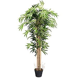 Goplus Fake Bamboo Tree Artificial Greenery Plants in Nursery Pot Decorative Trees for Home, Office, Lobby (5ft)