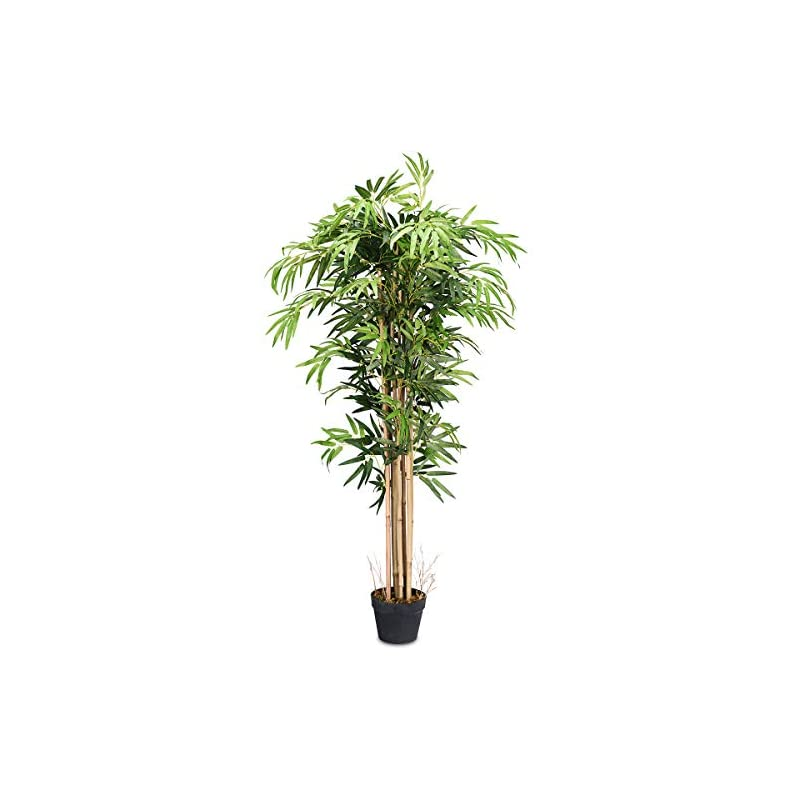 silk flower arrangements goplus fake bamboo tree artificial greenery plants in nursery pot decorative trees for home, office, lobby (5ft)