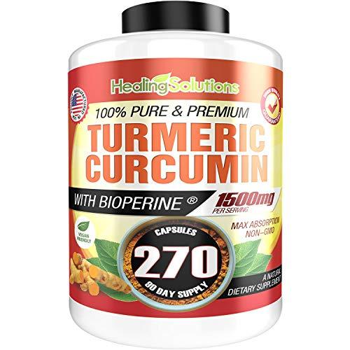 Turmeric Curcumin with Bioperine 1500mg (270 Capsules) Maximum Potency Pain Relief & Joint Support Supplement 95% Standardized Curcuminoids. Non-GMO Tumeric Gluten Free Turmeric with Black Pepper