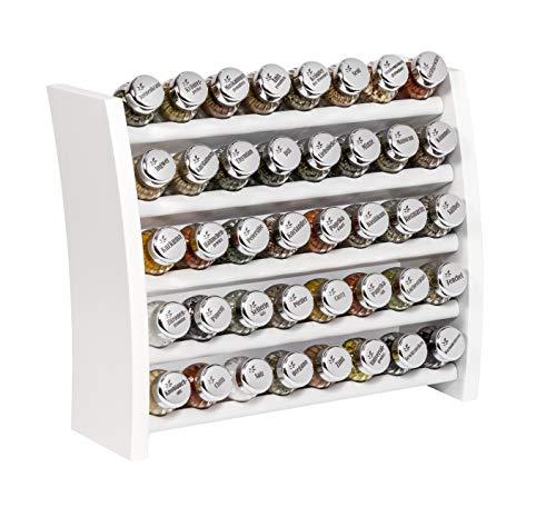 GALDBIS Gewürzregal, Küchenregal aus Holz für Gewürze und Kräuter, 40 Gläser, Gald – 40F-8x5 weiß glänzend