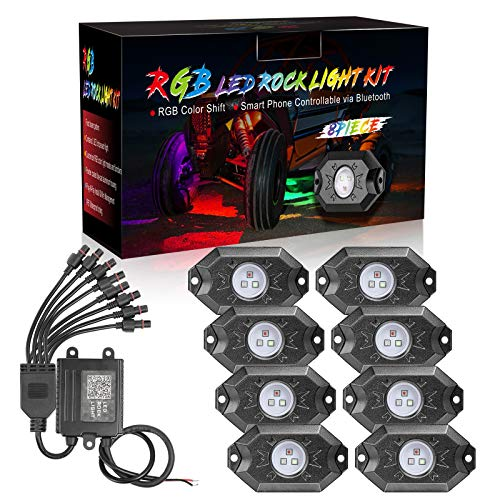 DJI 4X4 8 Pods RGB LED Rock Light Kits with Bluetooth Controller Waterproof Multicolor Neon LED Lights Underglow Trail Rig Lights for Trucks SUV ATV Boat Motorcycle Off Road