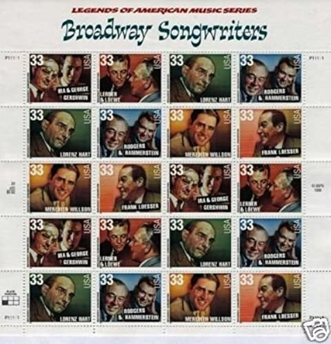 Broadway Songwriters pane of 20 x 33 cent U.S. Stamps 1 by USPS