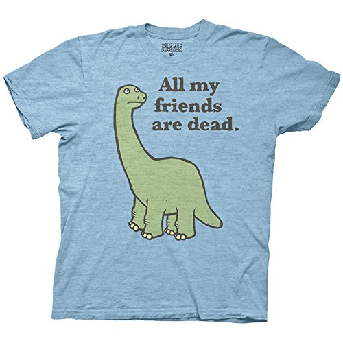 All My Friends are Dead Dinosaur Adult T-Shirt - Light Blue (XXX-Large)