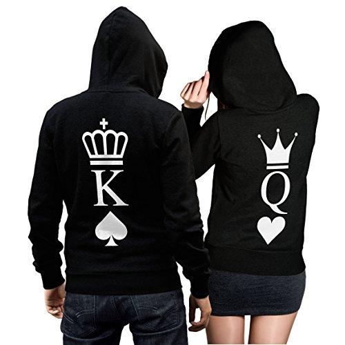 CVLR King Queen Pullover Pärchen Set - 2 Hoodies für Paare - Couple-Pullover - Geschenk-Idee - Herz/Pik -schwarz (King M + Queen S)