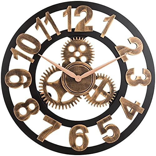 JanPraci Orologio da Parete Vintage con Numeri Romani 40cm Metallo Scheletro Non Ticchettio Decorativo per Cafe Hotel Bar Ufficio Cucina Soggiorno (Oro-Legno)
