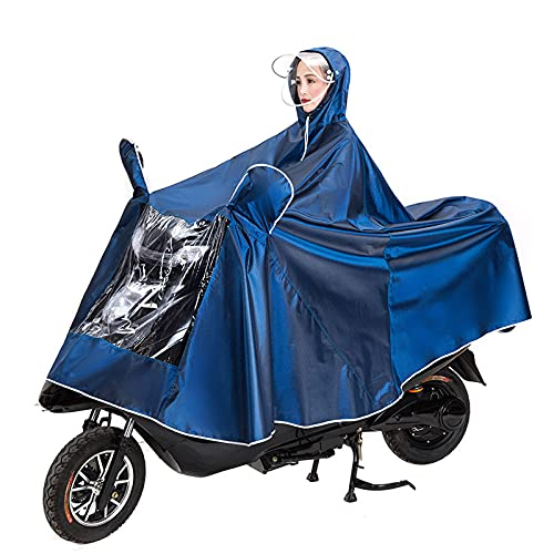 Waterproof Large Raincape Coat Mobility Scooter Bike/Ebike/Motorcycle/Scooter Cycling 5XL Jacket Poncho Full Protection with Visor for Man Woman Adult,Azul