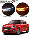 Auto Snap Car Led Strip for Headlight White Daytime Running Light, Turn Signal Yellow/Amber...