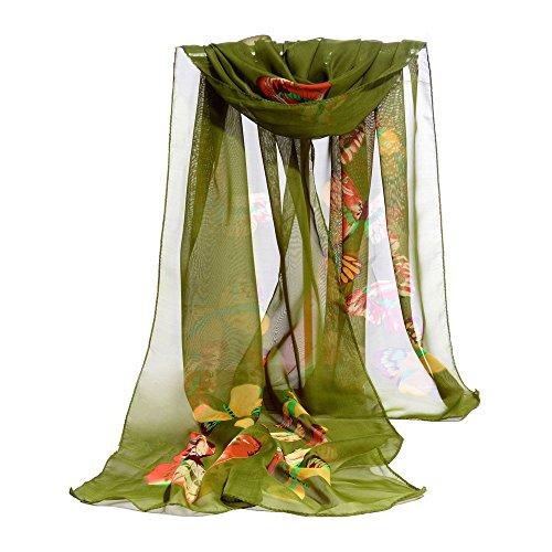 YWLINK Zartes Elegant Warme Wrap Stolas Chiffon Schal Damen Schmetterling Drucken Halstuch