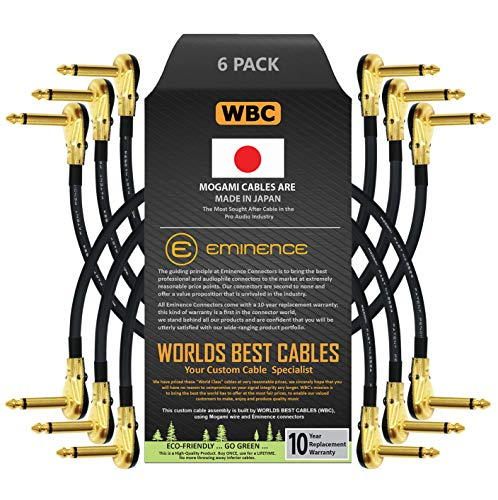 6 Units - 6 Inch - Pedal, Effects, Patch, Instrument Cable Custom Made by WORLDS BEST CABLES – Made Using Mogami 2524 Wire and Eminence Gold Plated ¼ inch (6.35mm) R/A Pancake Type Connectors