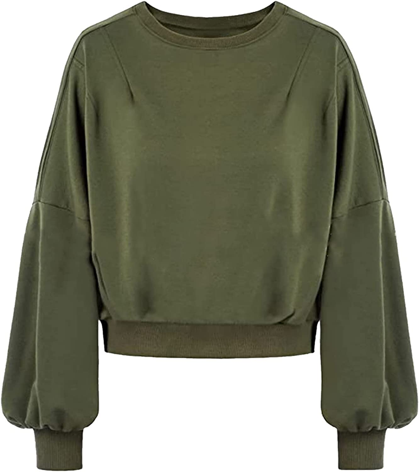 Women's Solid Color Splicing Lantern Sleeve O-Neck Crop Top Pullover Blouses Casual Loose Sweatshirt For Winter