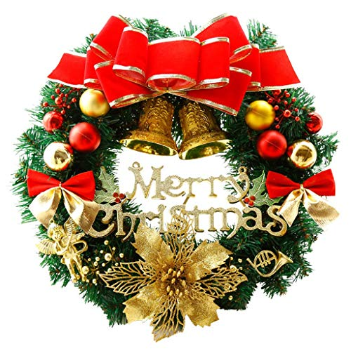 11.8inch Kroon van Kerstmis, Merry Christmas Voordeur De Kroon met Pine Cone, Full Christmas Wreath Design, Rode Bessen Winter Snow Garland Kerst Ornamenten for Voordeur Windows (Color : 2 piece)