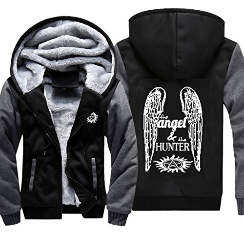 BIRDEU Winter Kapuzen Pullover Super Dean Angel Jacke Zip Sweatshirt natural Plus Samt Dicke Warm Hoodie Top Mantel für Herren Damen Kleidung