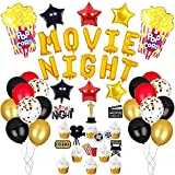 45pcs Movie Night Decorations,Movie Theme Popcorn Star Foil Balloons, Birthday Cupcake Toppers, Latex Balloons for Hollywood Oscar Themed, Movie Theatre Time Party Supplies