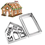 Gingerbread House Kit,10pcs 3D Stainless Steel Cookie Mold Cutters Set for Christmas Halloween Holiday Thanksgiving Festival,Gingerbread House DIY Kit Baking Pastry Tool with Gift Box