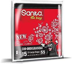 سانيتا اكياس للنفاية ابو ربطة 55 جالون برائحة الورد ، 15 كيس ، قابل للتحلل
