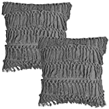 Soffta Tassel Throw Pillow Covers 26 x 26 Inch Pack of 2 Vintage Ruffle Ethnic Style Throw Pillow Cases Moroccan Boho Bohemian Throw Pillows Cushion Cover 100% Washed Cotton Gray