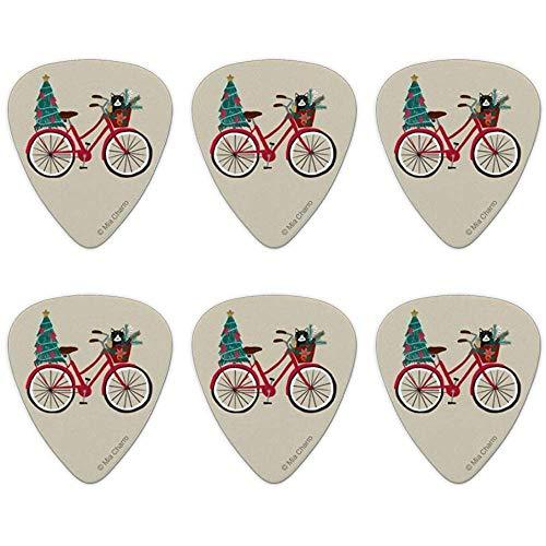 Kerstfiets fiets en kat in mand nieuwigheid gitaar picks medium gauge - set van 6
