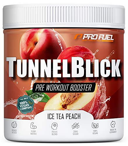 Pre-Workout-Booster Trainingsbooster Tunnelblick mit Citrullin, Taurin, Koffein & Guarana - MADE IN GERMANY - Ice Tea Peach
