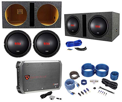 (2) Boss Audio CXX124DVC 12' 2400w Subwoofers+Vented Box+Mono Amplifier+Amp Kit