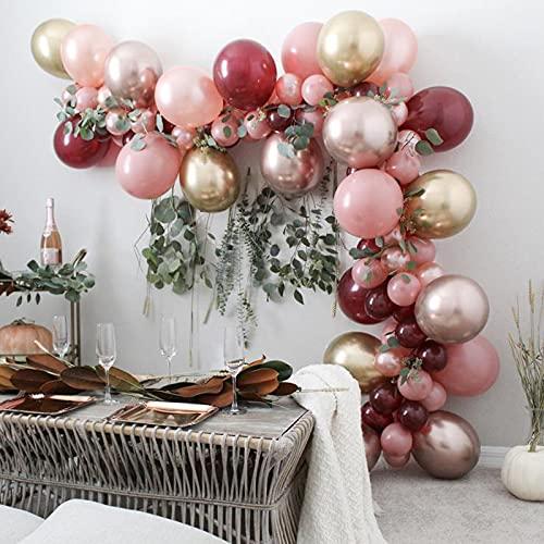 APERIL Palloncino Kit Ghirlanda, Kit Arco Palloncini Rosa Oro, Palloncini Compleanno Borgogna con Rattan Artificiali per Ragazze Donne Matrimonio Festa di Compleanno Decorazione di Laurea
