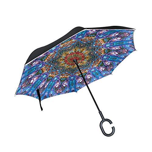 Paraguas inversos con Mango en Forma de C Ornamento Colorido Mandala Floral A Prueba de Viento Anti-UV Plegable para automóvil